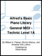 Alfred's Basic Piano Library General MIDI - Technic Level 1A