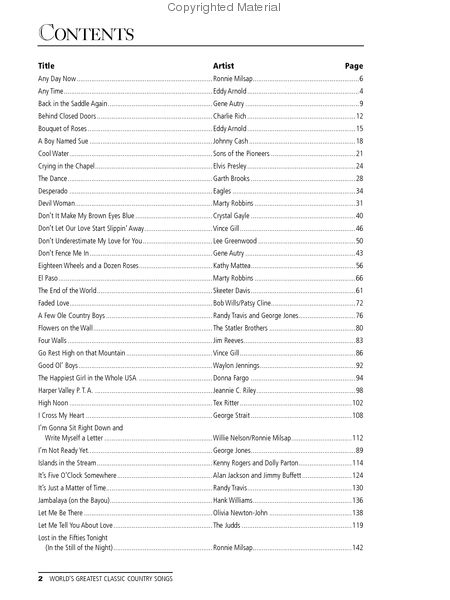 Worlds Greatest Classic Country Songs Pianovocalchords Book