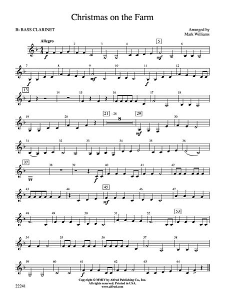 Clarinet Sheet Music Christmas.Christmas On The Farm B Flat Bass Clarinet Alfred Publishing Company Prima Music