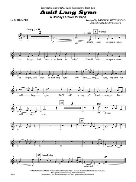 Auld Lang Syne (A Holiday Farewell for Band): 1st B-flat Trumpet ...