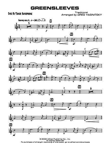 Greensleeves 2nd B Flat Tenor Saxophone Alfred Publishing Company