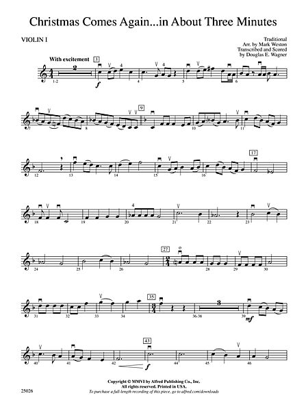 Christmas In About Three Minutes.Christmas Comes Again In About Three Minutes 1st Violin Belwin Mills Prima Music