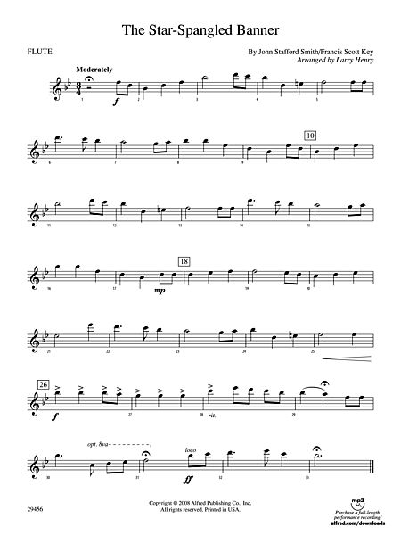 The Star Spangled Banner Flute Alfred Publishing Company Prima