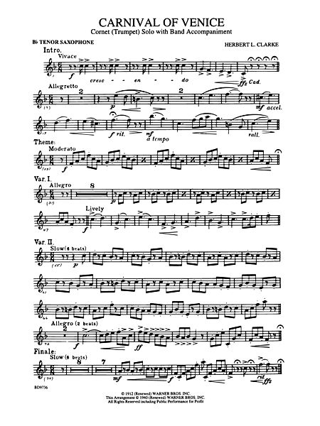 carnival of venice  cornet  trumpet  solo with band