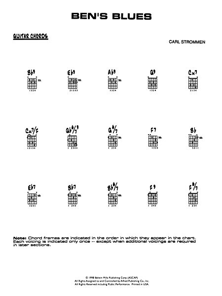 Ben\'s Blues: Guitar Chords - Alfred Publishing Company - Prima Music