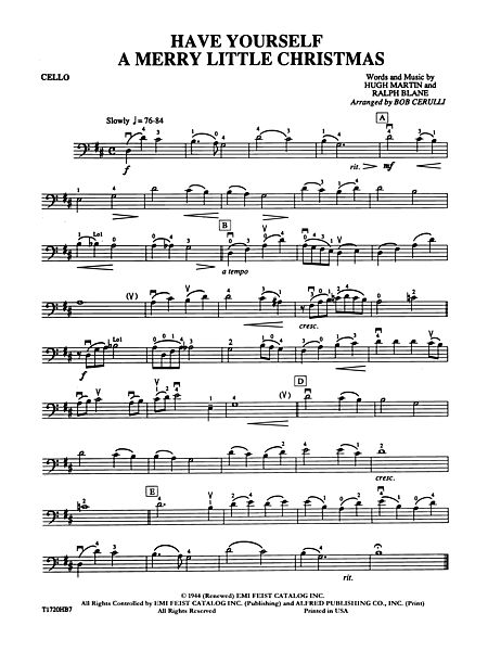 have yourself a merry little christmas cello alfred publishing company prima music - Have Yourself A Merry Little Christmas Piano Sheet Music