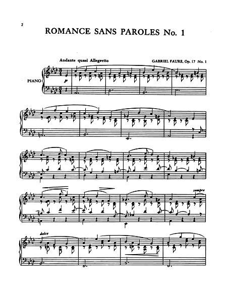 Romance Sans Paroles No 1 Edwin F Kalmus Prima Music