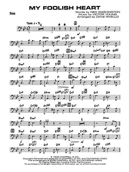 My Foolish Heart: String Bass - Alfred Publishing Company - Prima Music