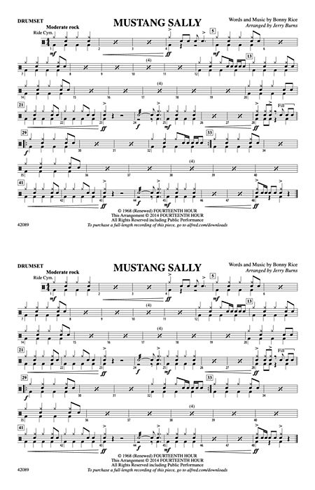 mustang sally piano sheets