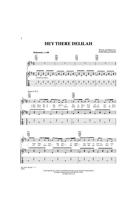 Hey There Delilah By Tom Higgenson Alfred Publishing Company