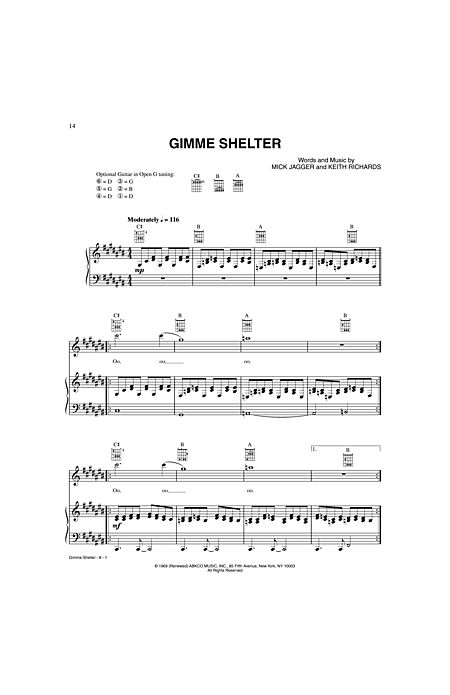 Gimme Shelter By Mick Jagger Keith Richards Alfred Publishing