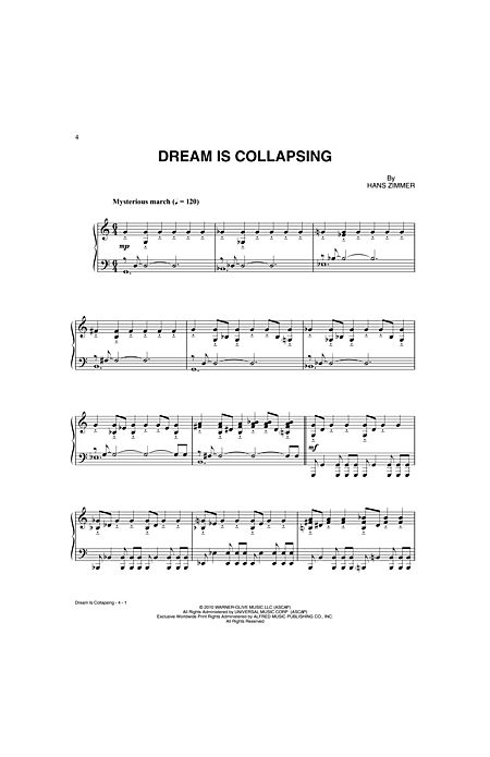 Dream Is Collapsing By Hans Zimmer Alfred Publishing Company