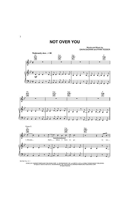 Not Over You By Gavin Degraw Ryan Tedder Alfred Music Prima Music