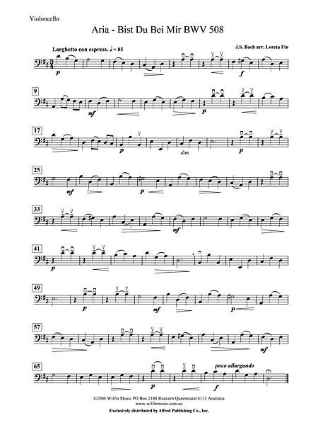 Aria Bist Du Bei Mir Cello Alfred Publishing Company Prima Music