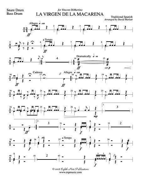 La Virgen De Macarena Solo Trumpet And Concert Band Snare Drum