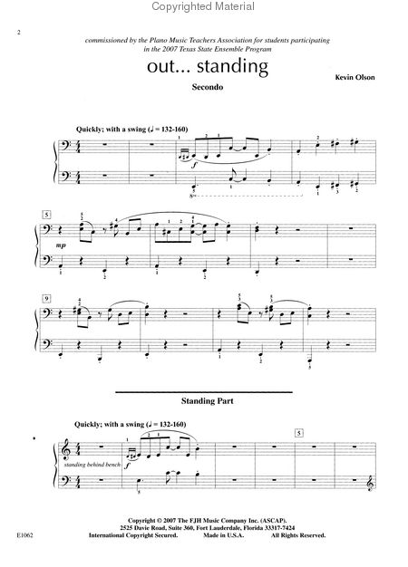 Fjh Piano Ensemble Out Standing Late Intermediate Sheet Music By Kevin Olson Fjh Music